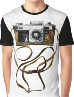 Watercolor vintage camera in leather case Graphic T-Shirt