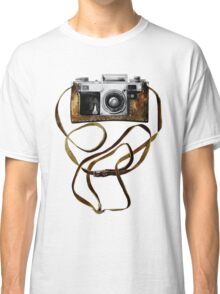 Watercolor vintage camera in leather case Classic T-Shirt