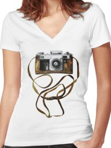 Watercolor vintage camera in leather case Women's Fitted V-Neck T-Shirt