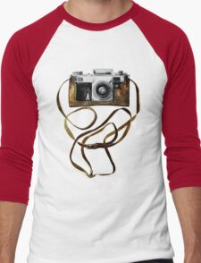 Watercolor vintage camera in leather case Men's Baseball ¾ T-Shirt