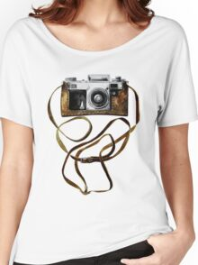 Watercolor vintage camera in leather case Women's Relaxed Fit T-Shirt