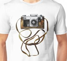 Watercolor vintage camera in leather case Unisex T-Shirt