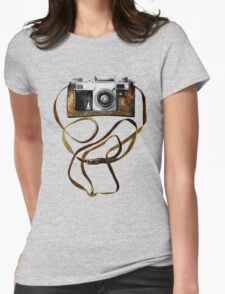 Watercolor vintage camera in leather case Womens Fitted T-Shirt