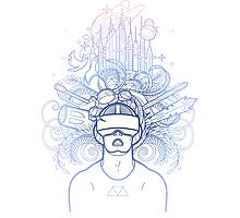 Graphic man in virtual reality glasses Photographic Print