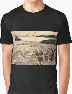 'Women on the Beach of Enoshima' by Katsushika Hokusai (Reproduction) Graphic T-Shirt