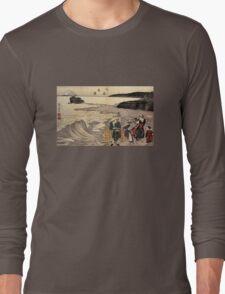 'Women on the Beach of Enoshima' by Katsushika Hokusai (Reproduction) Long Sleeve T-Shirt