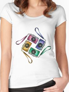 Multicolor vintage reflex cameras Women's Fitted Scoop T-Shirt
