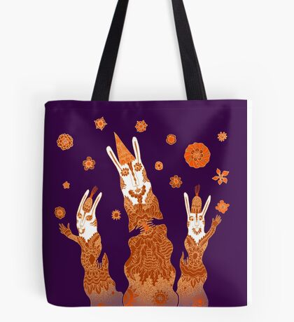 Psychedelic Rabbit Wizards  Tote Bag