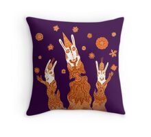 Psychedelic Rabbit Wizards  Throw Pillow