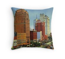 Retro Vintage Detroit Washington Boulevard, Bank Building, Cadillac Hotel Throw Pillow
