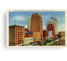 Retro Vintage Detroit Washington Boulevard, Bank Building, Cadillac Hotel Canvas Print