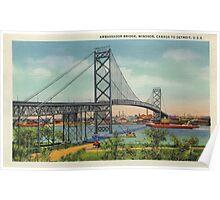 Retro vintage Ambassador Bridge Windsor Canada to Detroit USA Poster