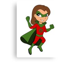 Superhero girl cartoon Canvas Print