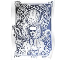 Cthulhu Howard Phillips Lovecraft HP historical society Blue Poster