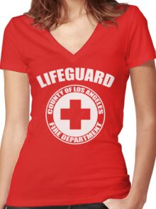 L.A. Co. Lifeguard - red Women's Fitted V-Neck T-Shirt
