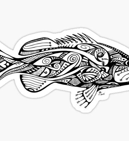 Black & White Zentangle Grouper Sticker