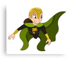 Flying superhero girl cartoon Canvas Print