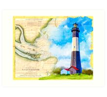 Tybee Island Lighthouse - Vintage Georgia Coast Map Collage Art Print