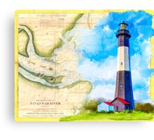 Tybee Island Lighthouse - Vintage Georgia Coast Map Collage Canvas Print
