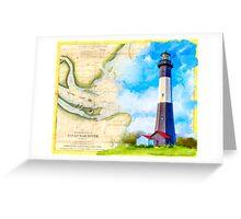 Tybee Island Lighthouse - Vintage Georgia Coast Map Collage Greeting Card