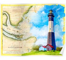 Tybee Island Lighthouse - Vintage Georgia Coast Map Collage Poster