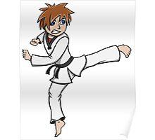 Taekwondo Mascot Kicking Poster