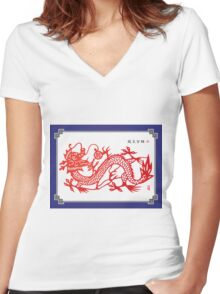 Chinese dragon Women's Fitted V-Neck T-Shirt