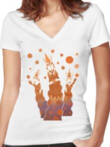 Psychedelic Rabbit Wizards  Women's Fitted V-Neck T-Shirt