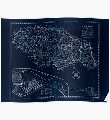 American Revolutionary War Era Maps 1750-1786 167 A new map of Jamaica in which the several towns forts & settlements are accurately laid down as well as the Inverted Poster