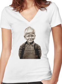 Smile and the world smiles back... :) Women's Fitted V-Neck T-Shirt