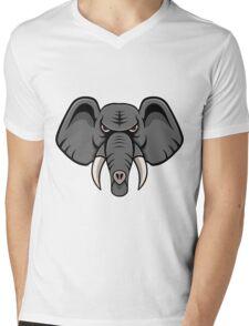Elephant Face Mens V-Neck T-Shirt