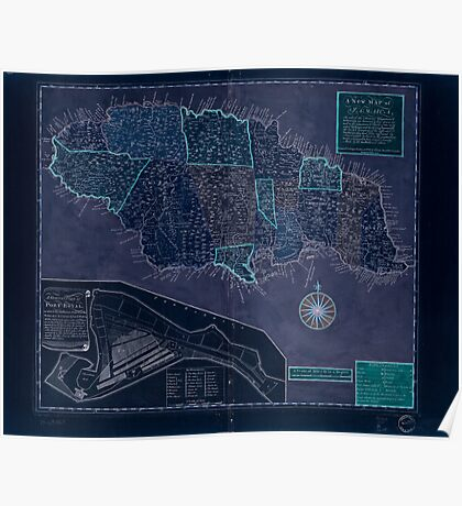 American Revolutionary War Era Maps 1750-1786 166 A new map of Jamaica in which the several towns forts & settlements are accurately laid down as well as the Inverted Poster