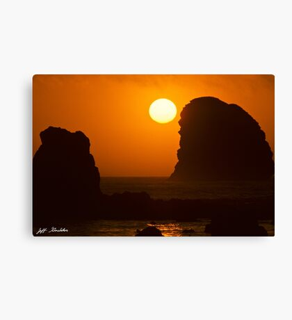 Sunset Over the Pacific Ocean with Rock Stacks Canvas Print