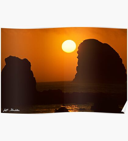 Sunset Over the Pacific Ocean with Rock Stacks Poster