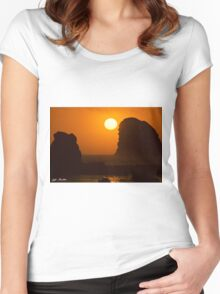 Sunset Over the Pacific Ocean with Rock Stacks Women's Fitted Scoop T-Shirt