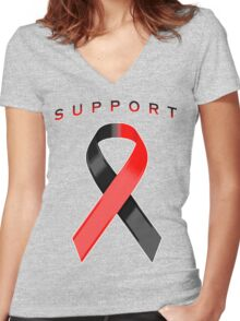 Red and Black Awareness Ribbon of Support Women's Fitted V-Neck T-Shirt