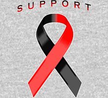 Red and Black Awareness Ribbon of Support Women's Relaxed Fit T-Shirt