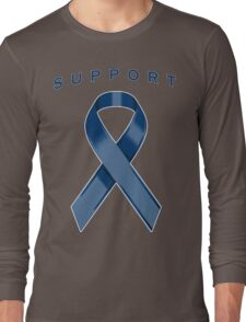 Navy Blue Awareness Ribbon of Support Long Sleeve T-Shirt