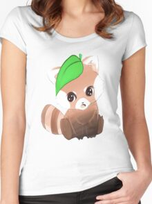 cute red panda   Women's Fitted Scoop T-Shirt