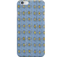 Yellow Sunshade on distressed blue background iPhone Case/Skin