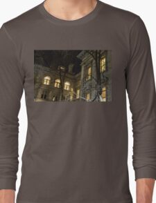 New York Night - Graceful Mansions Through the Naked Tree Branches Long Sleeve T-Shirt