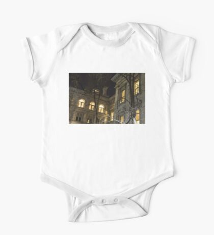 New York Night - Graceful Mansions Through the Naked Tree Branches One Piece - Short Sleeve