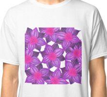 Pretty Lavender Purple Watercolor Flowers Pattern Classic T-Shirt