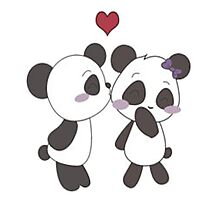 pandas in love  Photographic Print