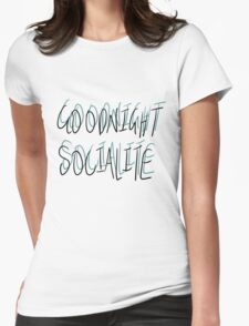 Goodnight Socialite (Aqua) Womens Fitted T-Shirt