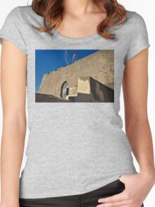 Facade of the medieval castle of Castro Marim Women's Fitted Scoop T-Shirt