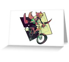 DREAMING WEREWOLF MOTORCYCLIST Greeting Card