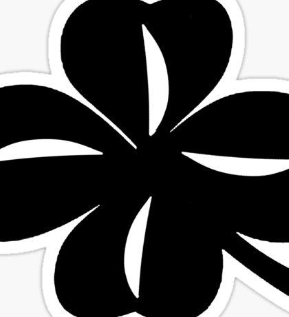 Clover 1 - White on Black Sticker