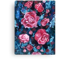 Blue and Pink Valentine Roses Canvas Print