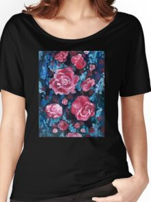 Blue and Pink Valentine Roses Women's Relaxed Fit T-Shirt